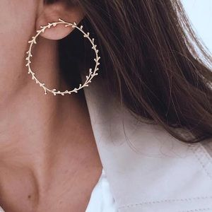Irregular Circles Leaves Stud Drop Earrings